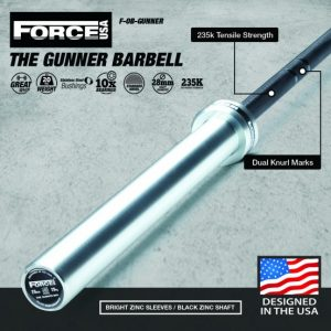 Force USA Gunner Barbell (Black Zinc Bar With Bright Zinc Sleeves) - Competition Tested-0